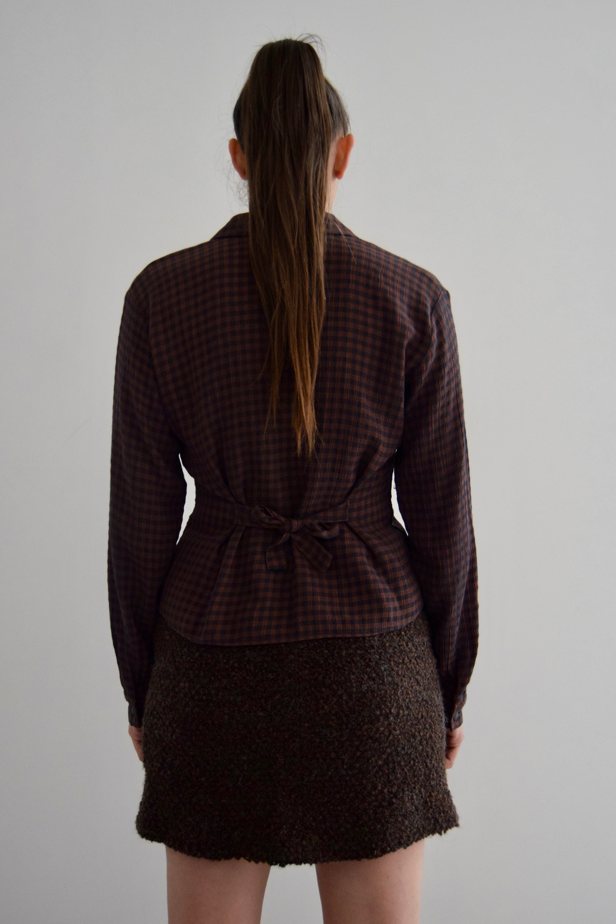 Vintage Brown and Navy Gingham Long Sleeve Top