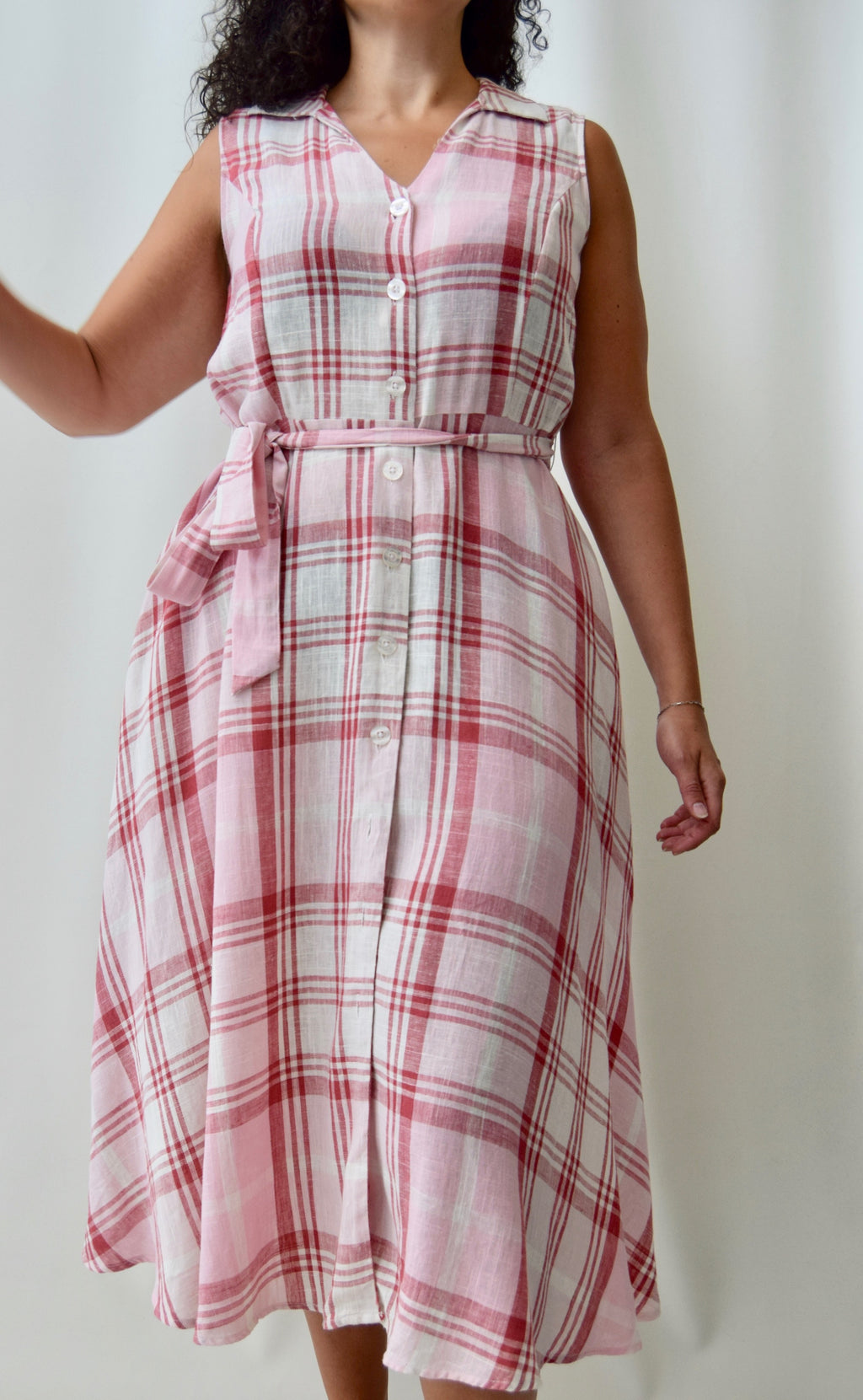 Pink Gingham Linen Market Dress