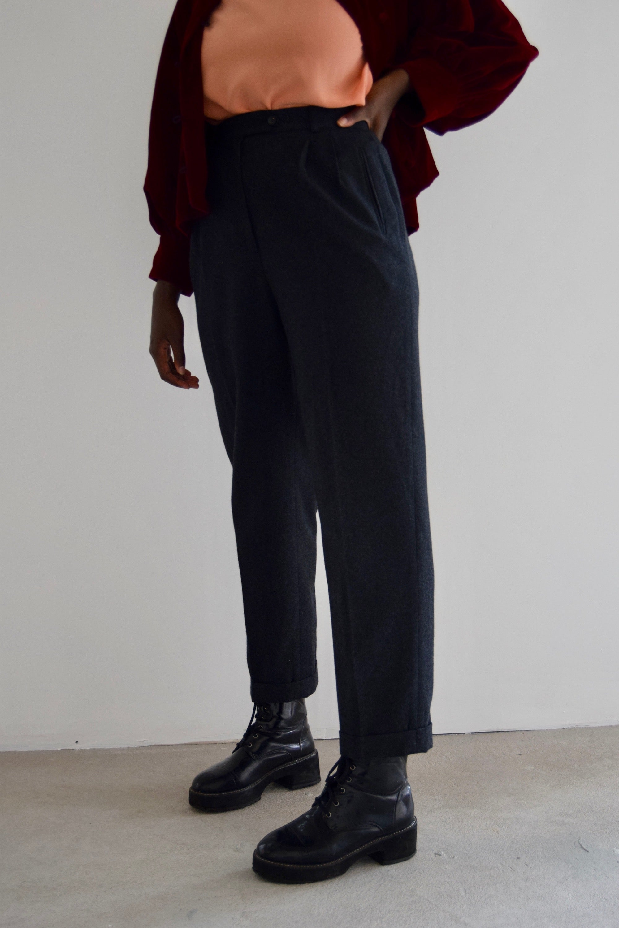 Liz Claiborne Charcoal Wool Trousers