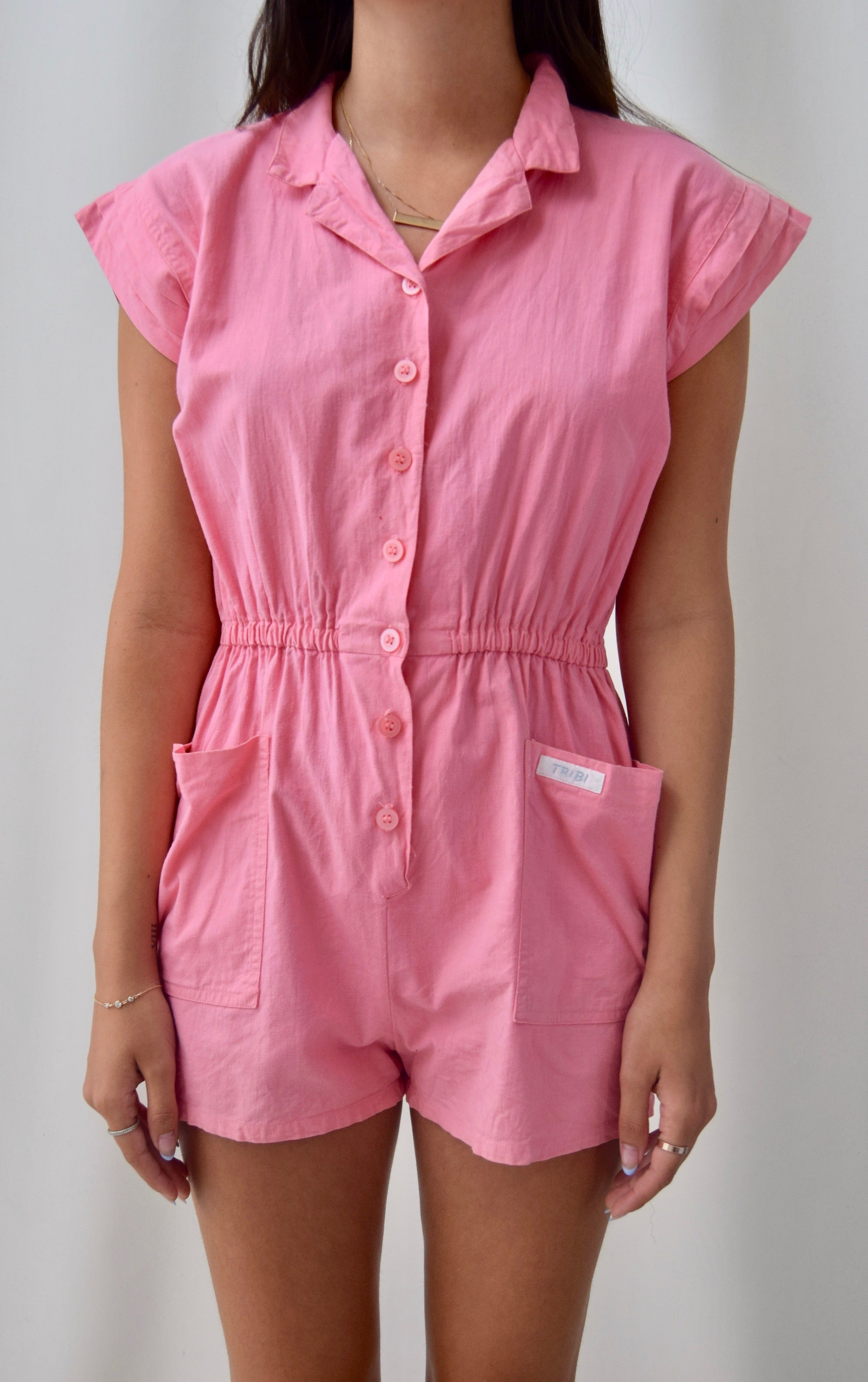 80's Flamingo Cotton Romper