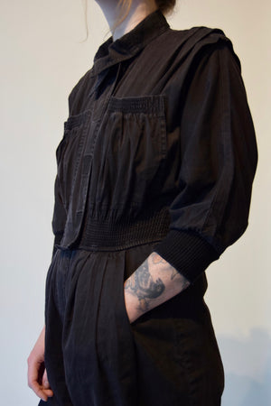 Vintage 80's Black Cotton Jumpsuit