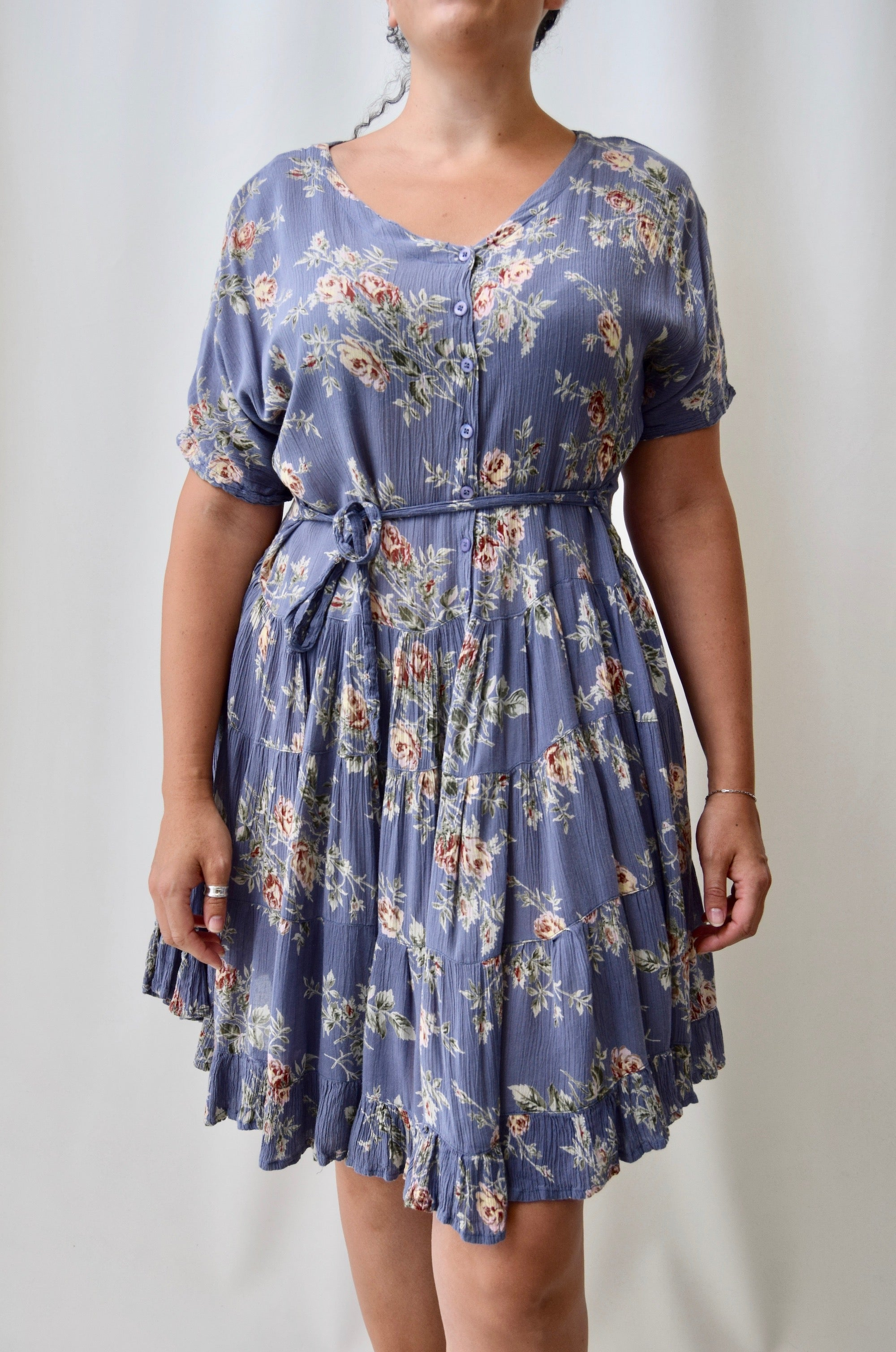 90's Periwinkle Floral Dress