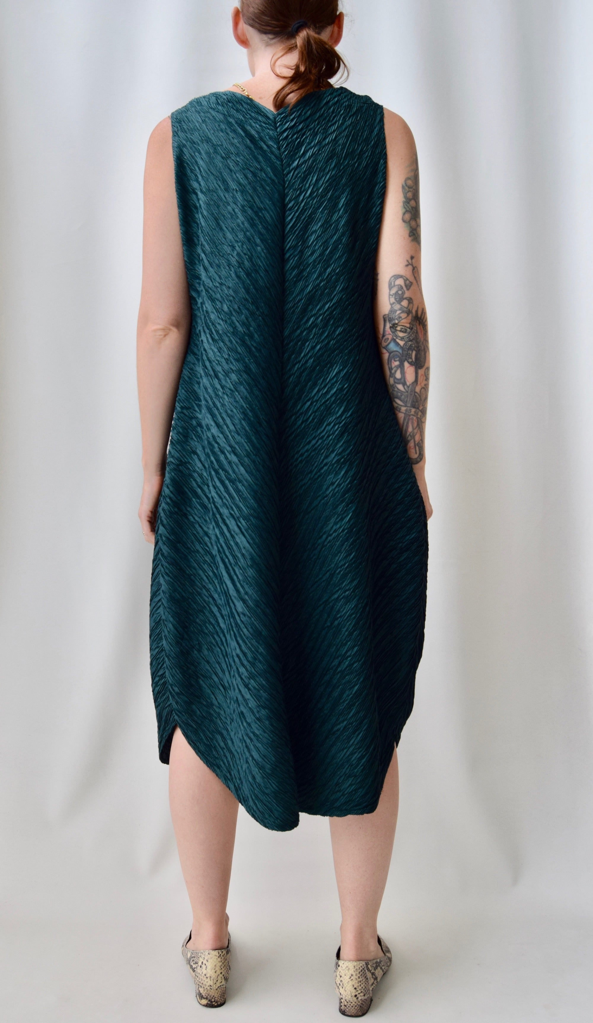 Emerald Pleated Dress