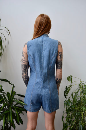 Now And Then Denim Romper