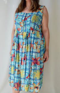 Multi-Blue Plaid Floral Rayon Summer Dress