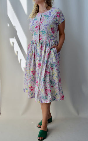 Sweetheart Butterfly Floral Cotton Dress