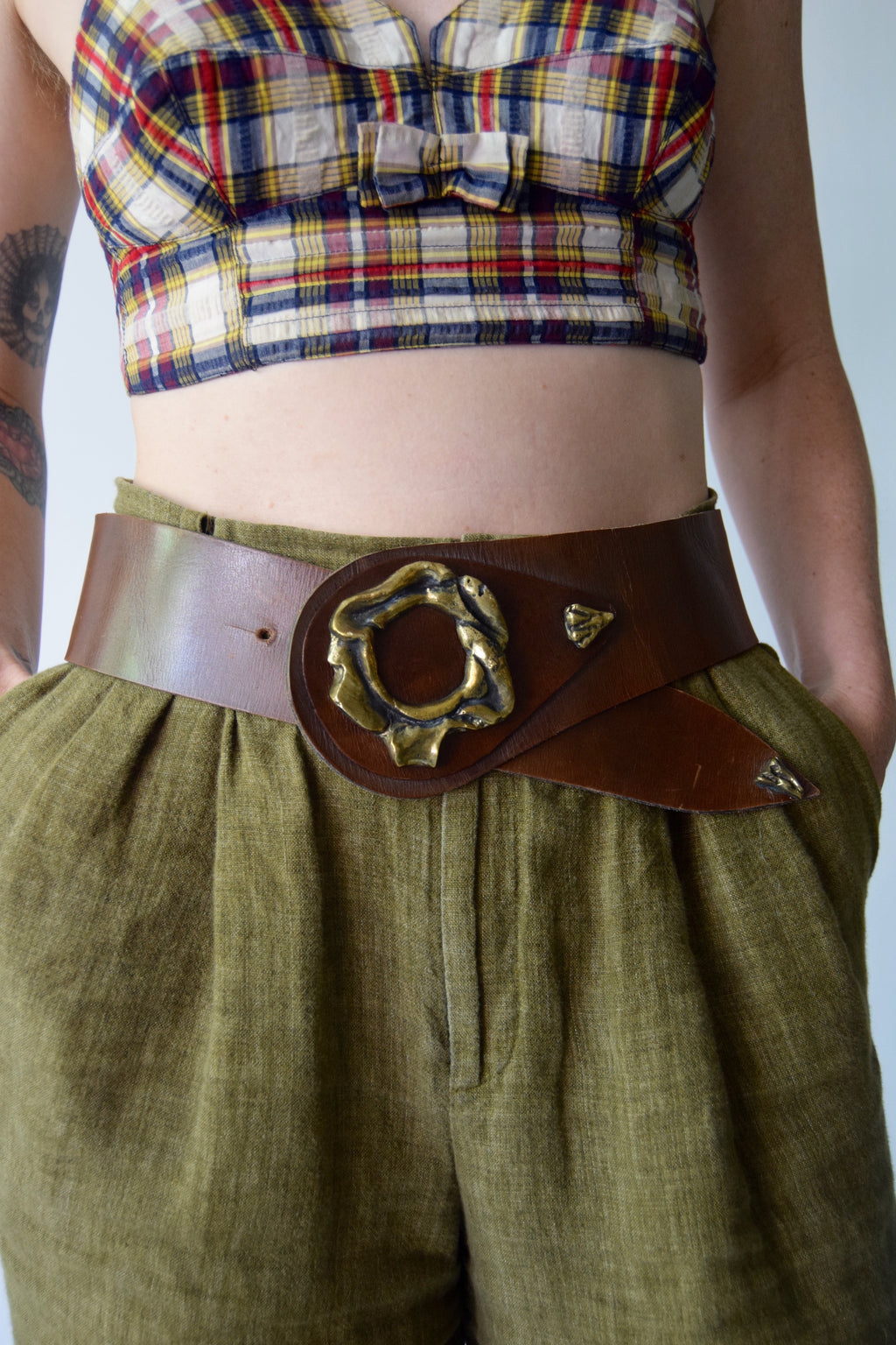 Vintage Brown Leather and Brass Belt