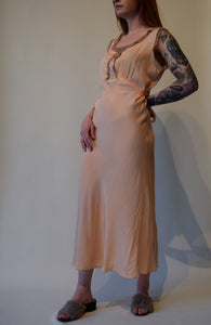 Vintage 1940's Pink Silk Nightgown with Embroidered Detail.