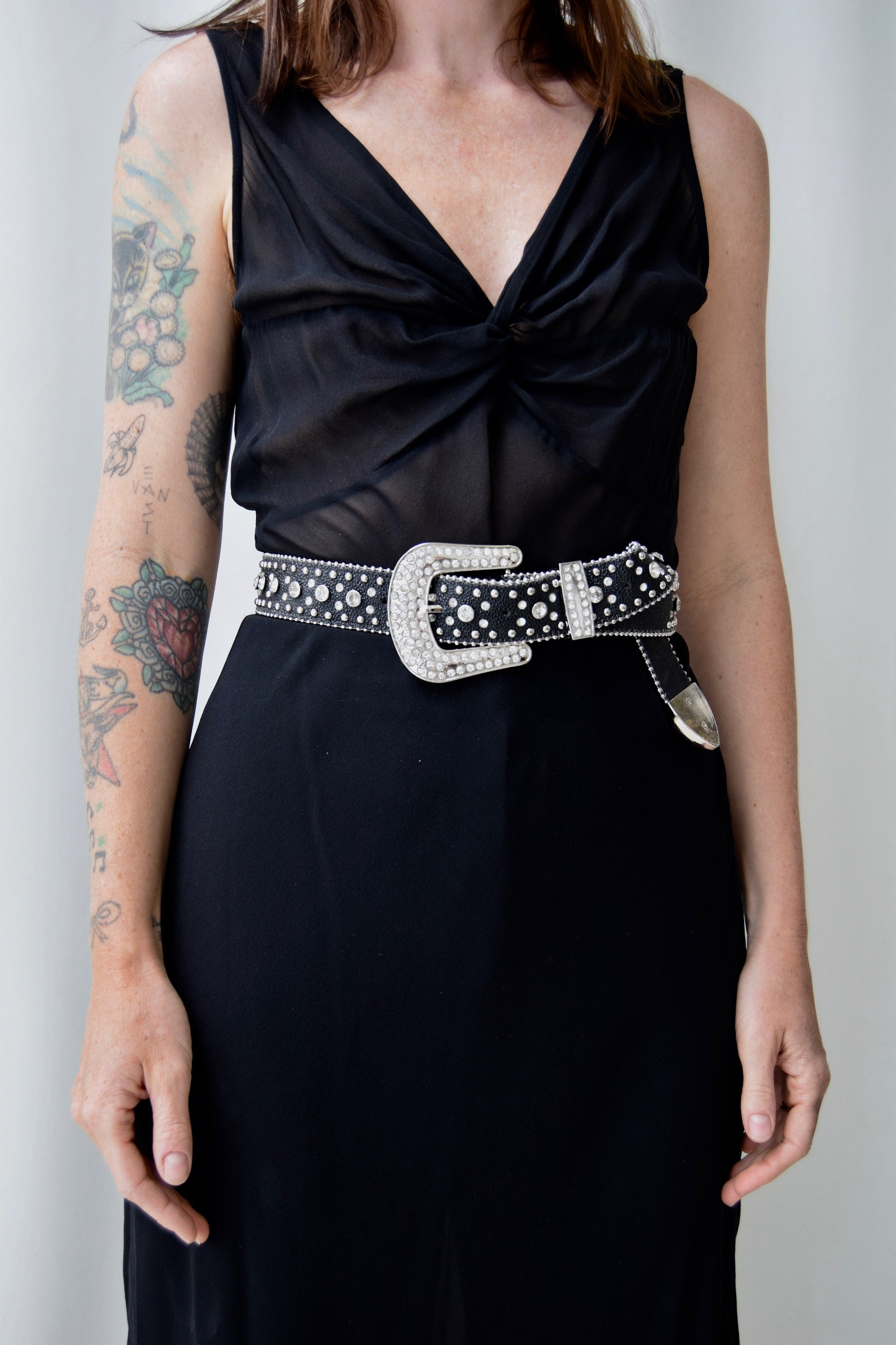 Leather Rhinestone Western Belt