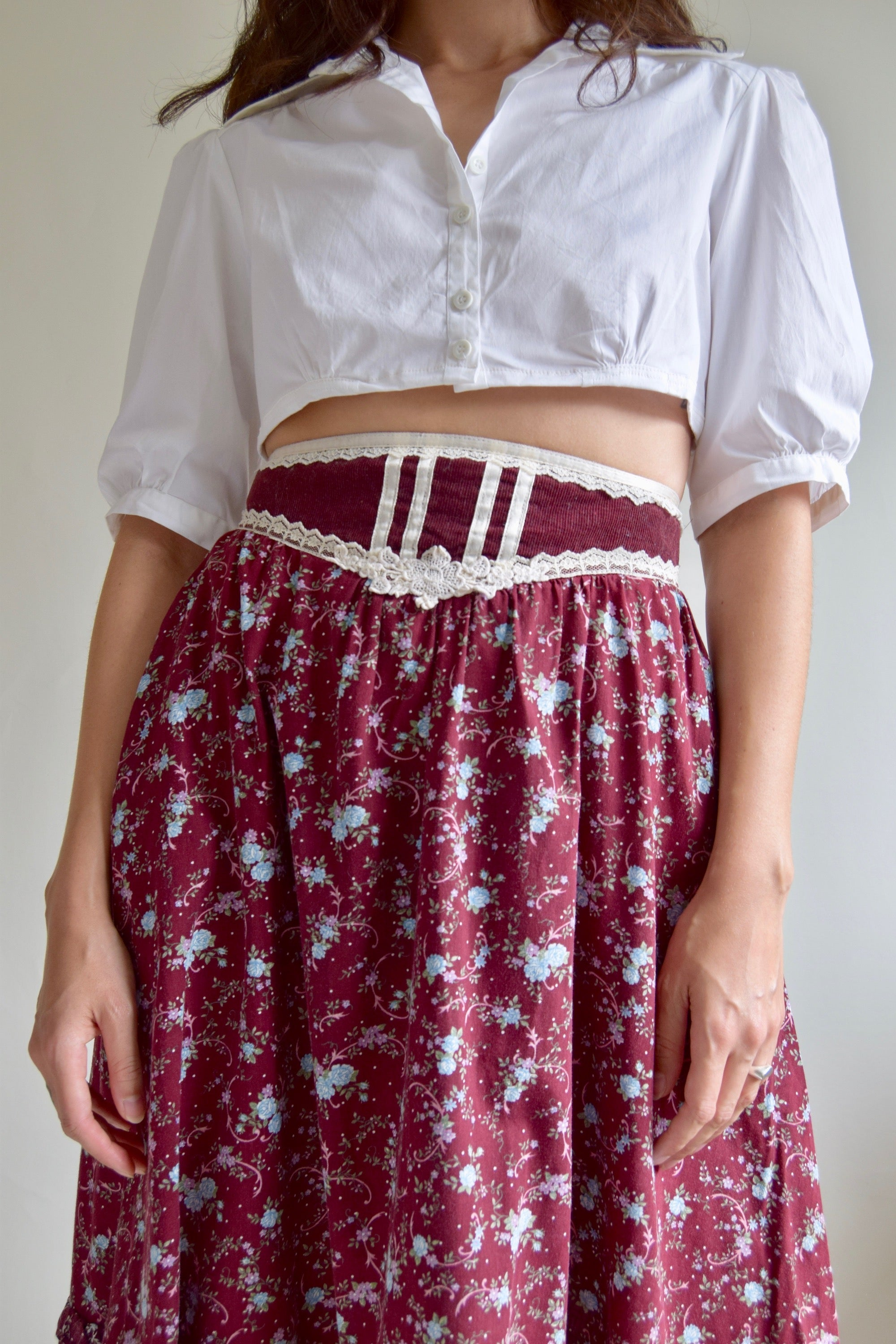 Vintage 1970's Ruffled Gunne Sax Floral Wine Skirt FREE SHIPPING