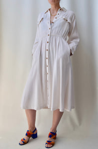 Woven Cream Shirtdress