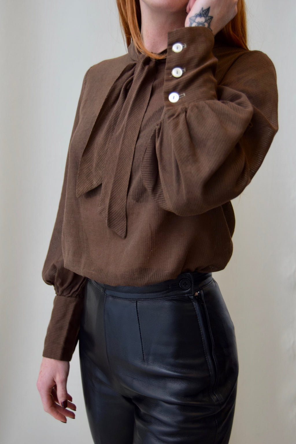 1960's Sheer Brown Striped Blouse FREE SHIPPING TO THE U.S.