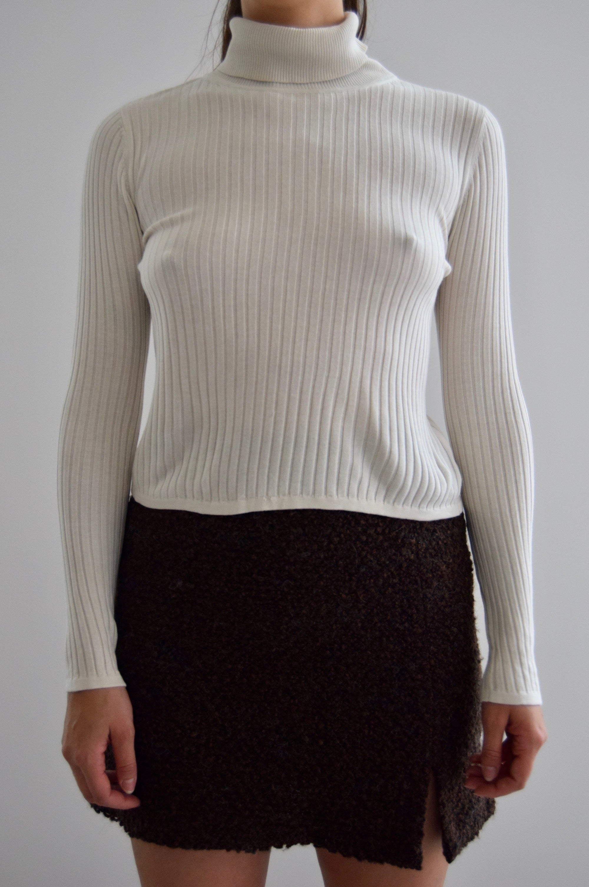 Ivory Cloud Silk Ribbed T Neck Sweater