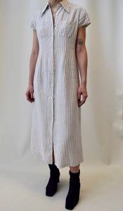 Neutral Striped Linen Button Down Dress