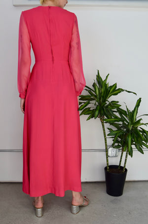 Seventies Rhinestone Flamingo Disco Maxi Dress