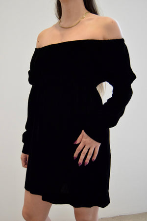 "1970's ""Young Innocent"" Black Velvet Off The Shoulder Mini Dress"