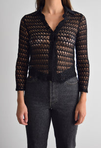 Black Widow Long Sleeve Button Up Knit Top FREE SHIPPING TO THE U.S.