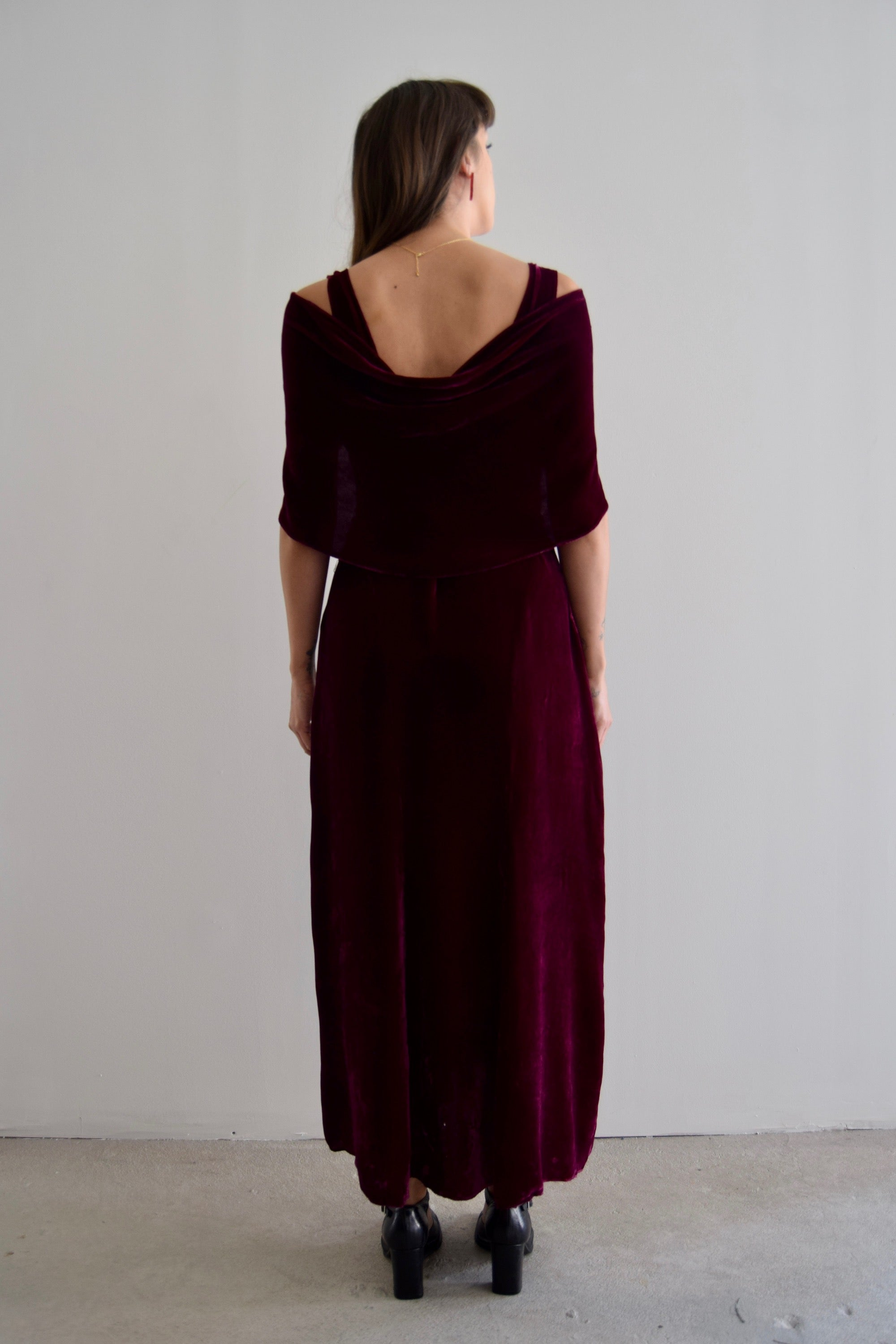 Vintage 30's Deep Fuchsia Silk Velvet Dress As Is