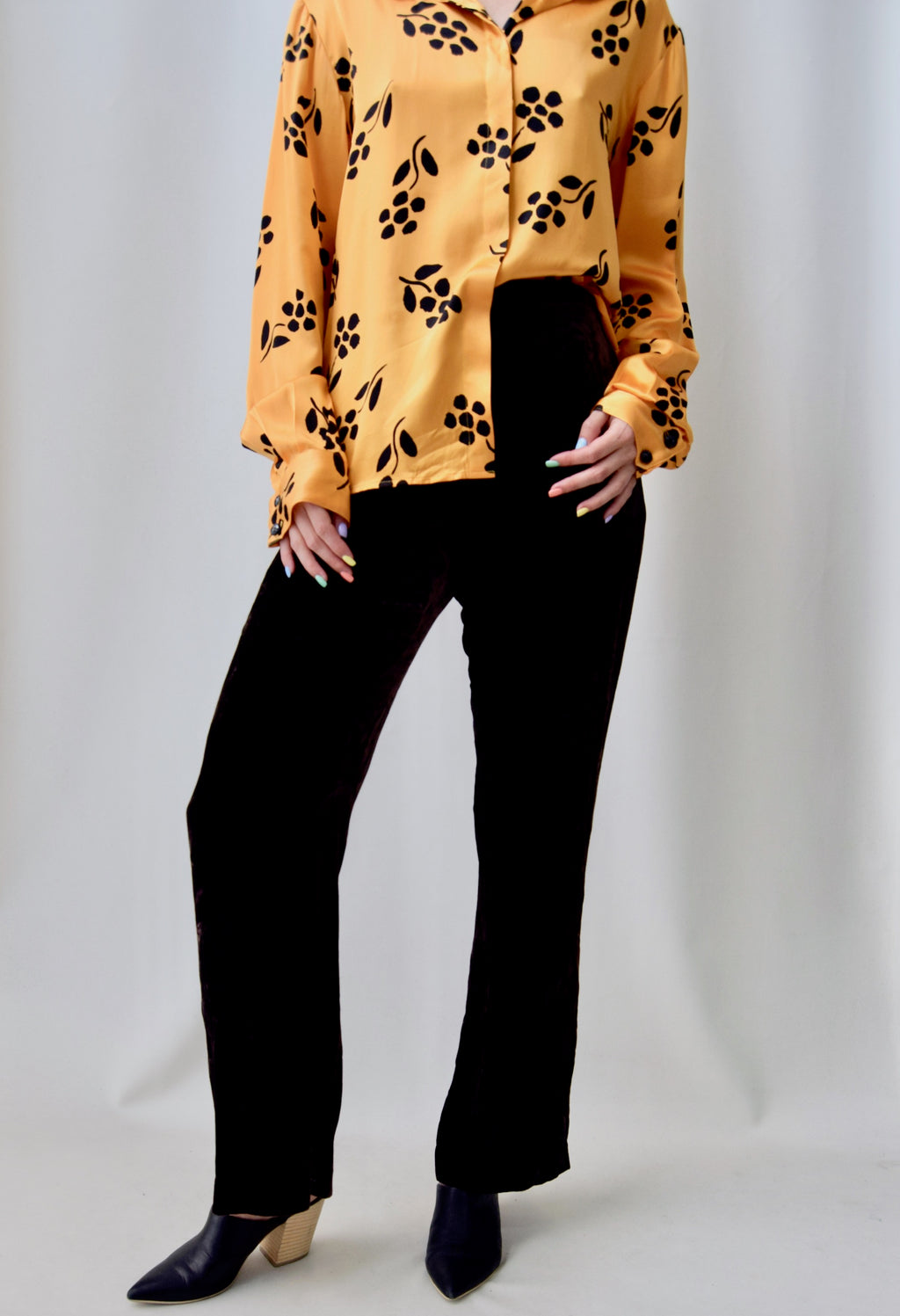 Chocolate Velvet Silk Trousers