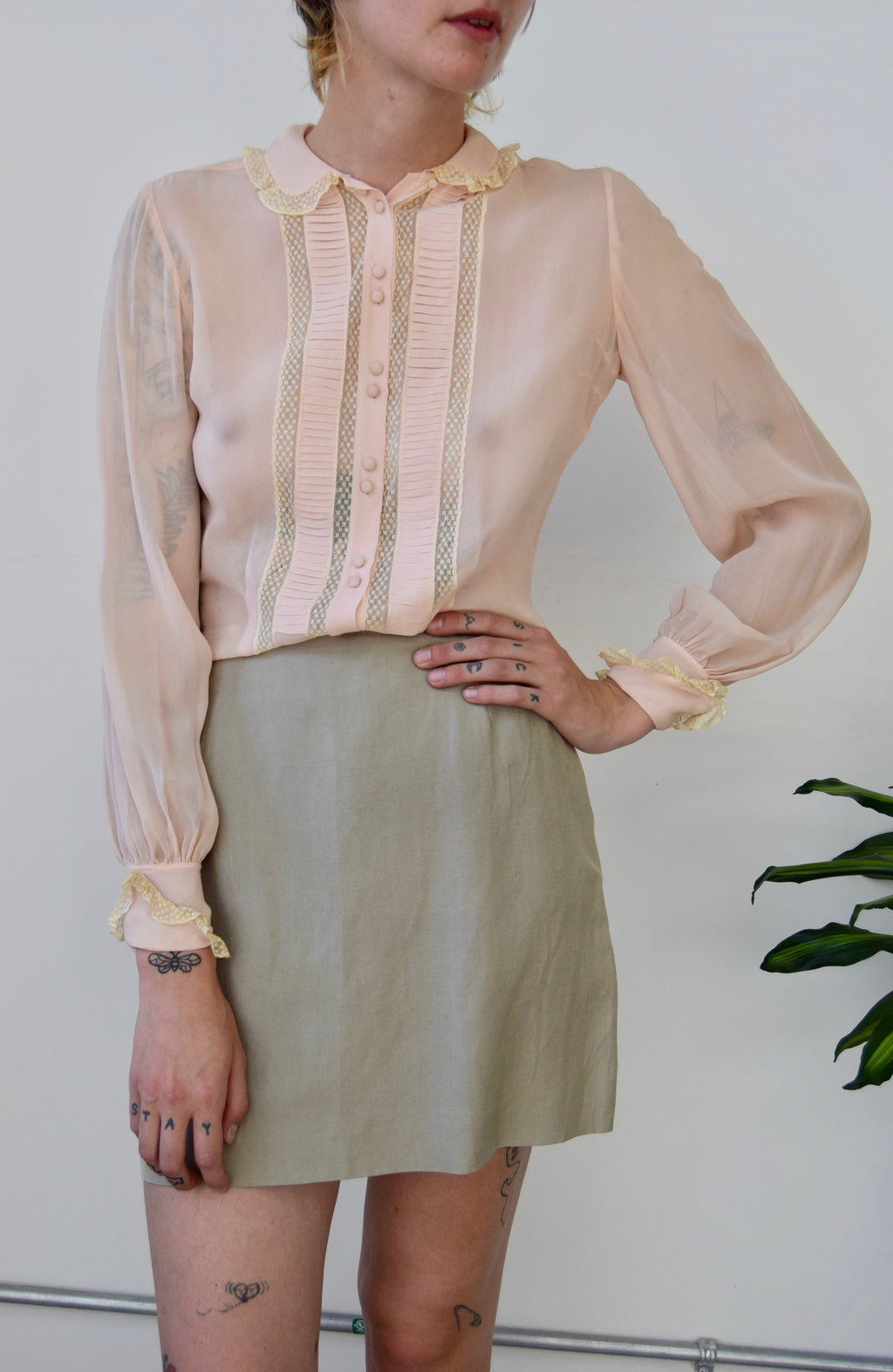 Forties Blush Silk and Lace Blouse