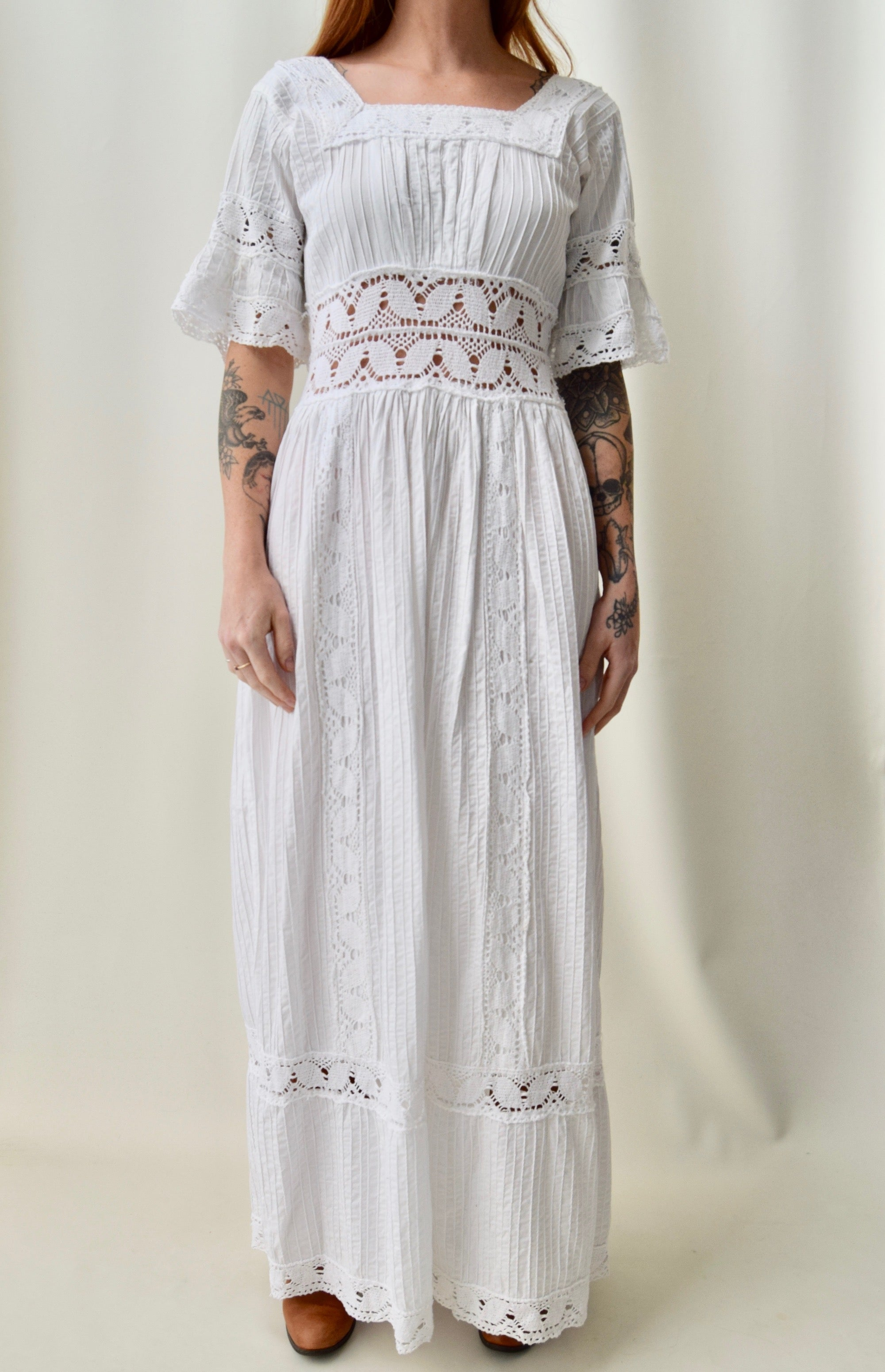 Vintage Mexican Crocheted Lace Wedding Dress