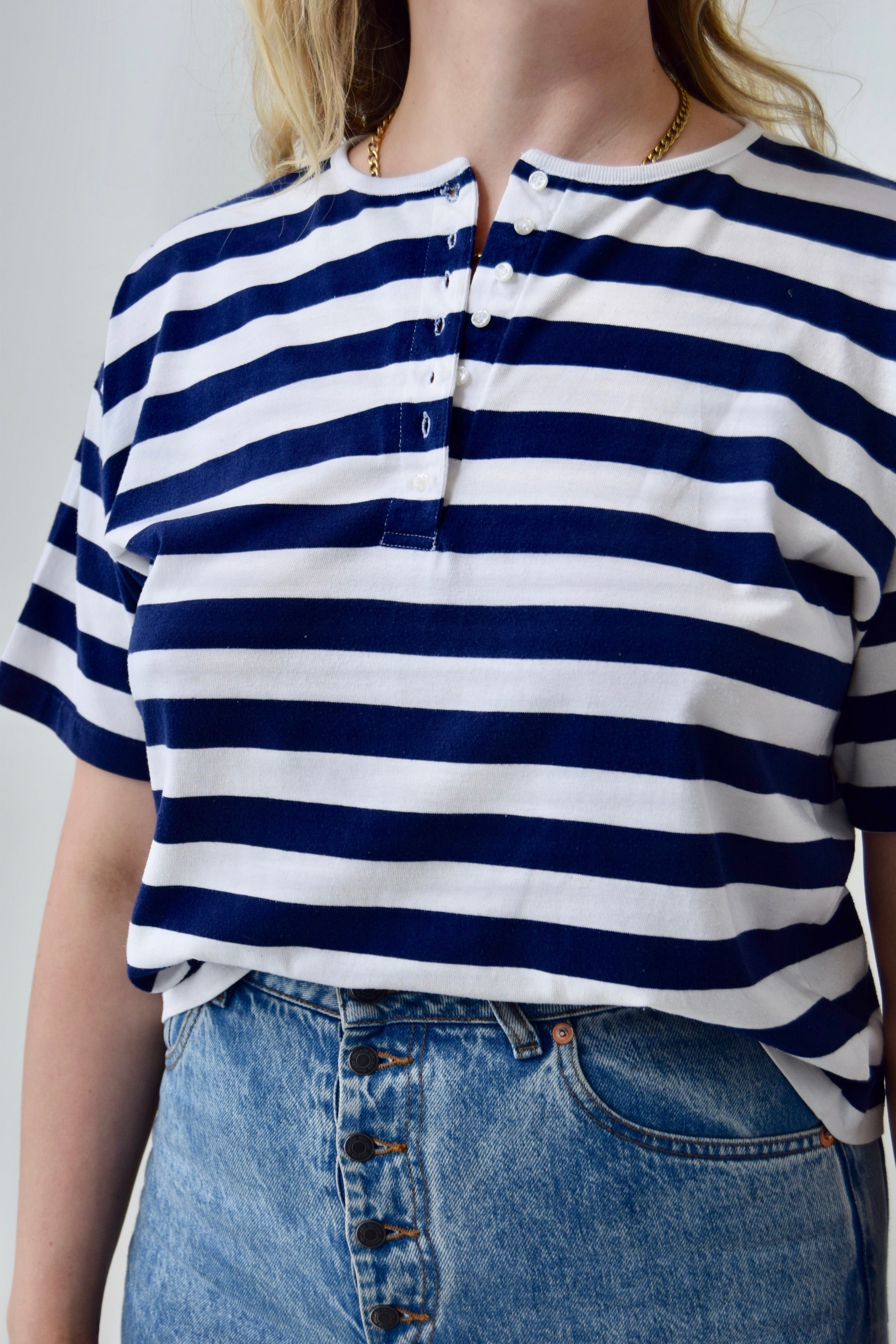 Nautical Striped Cropped Tee