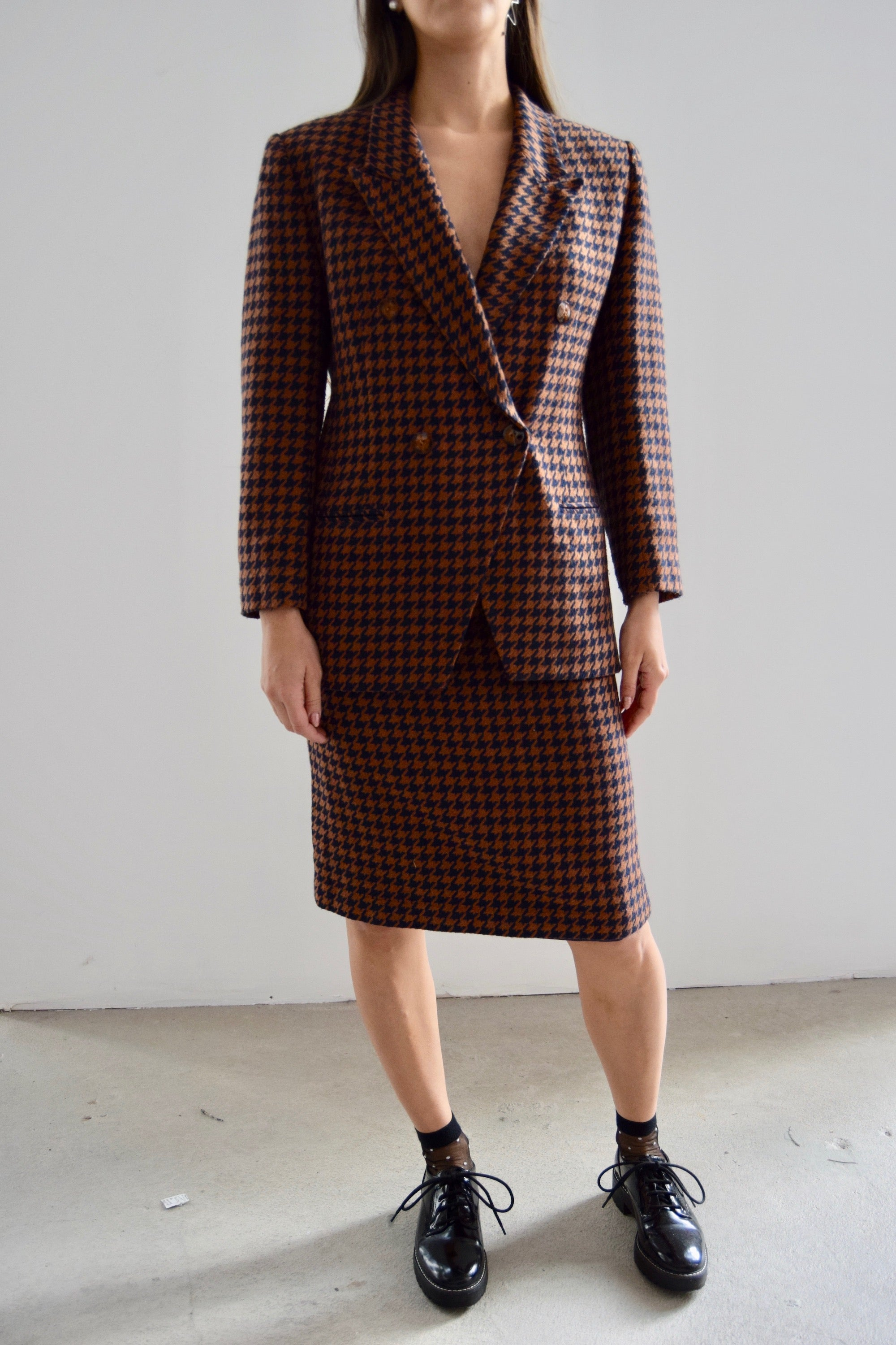 Russet and Navy Houndstooth Wool Blend Suit
