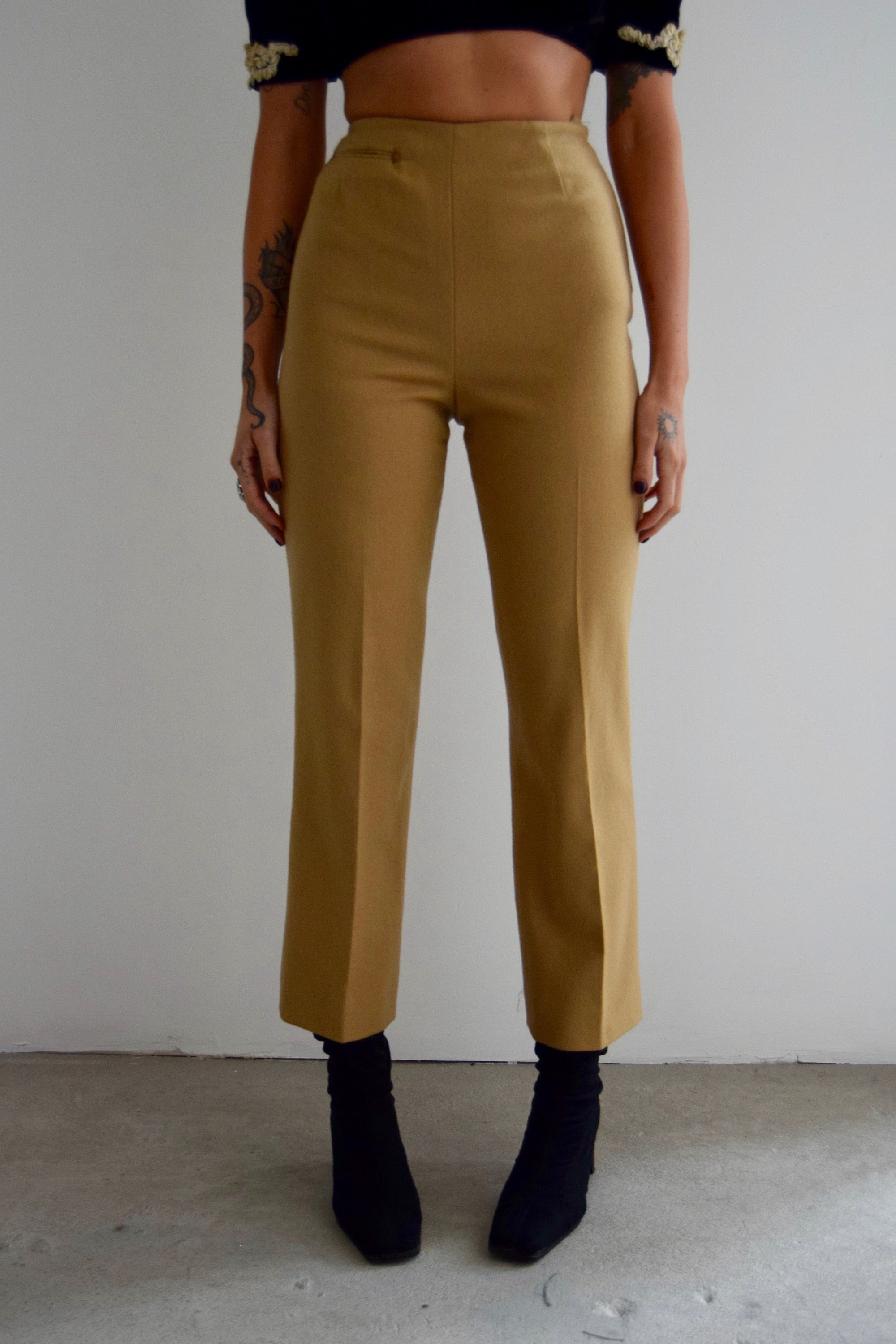 Vintage Evan-Picone Camel Wool Smile Pocket Pants