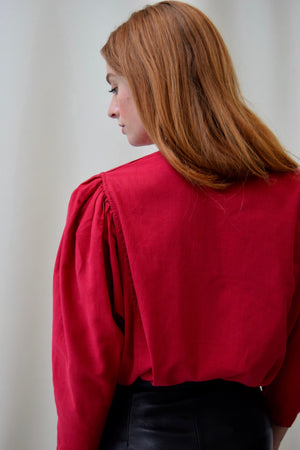 Vintage Raspberry Pleated Indian Cotton Blouse FREE SHIPPING TO THE U.S.