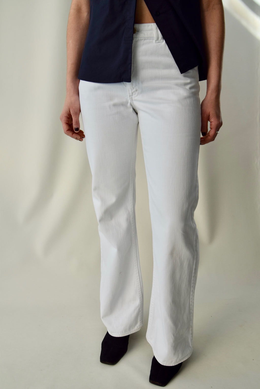1970's White Lee Bell Bottoms