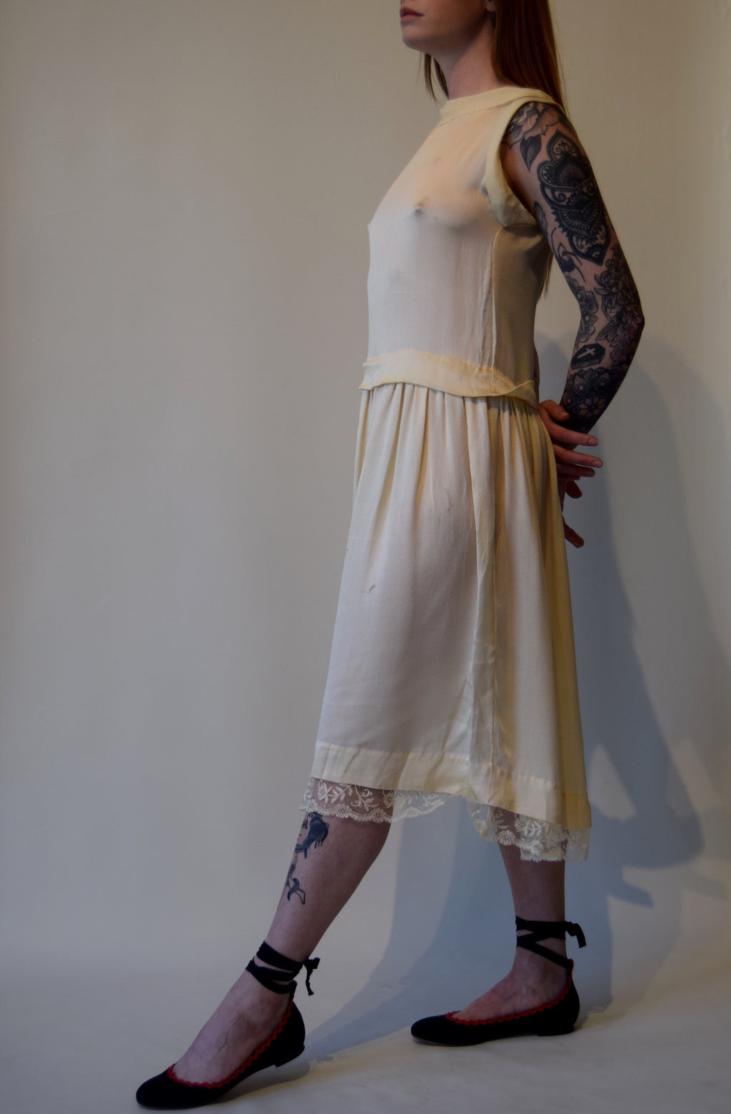 Vintage 1920's Ivory Satin Silk Dress FREE SHIPPING