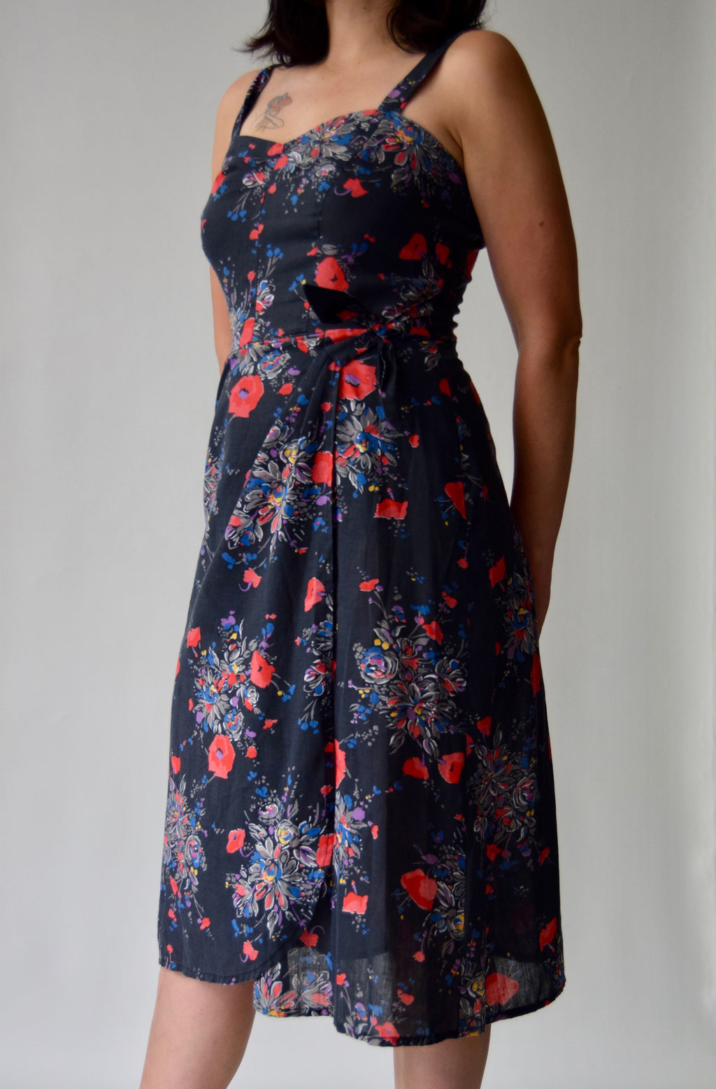 Vintage Black Poppy Wrap Dress