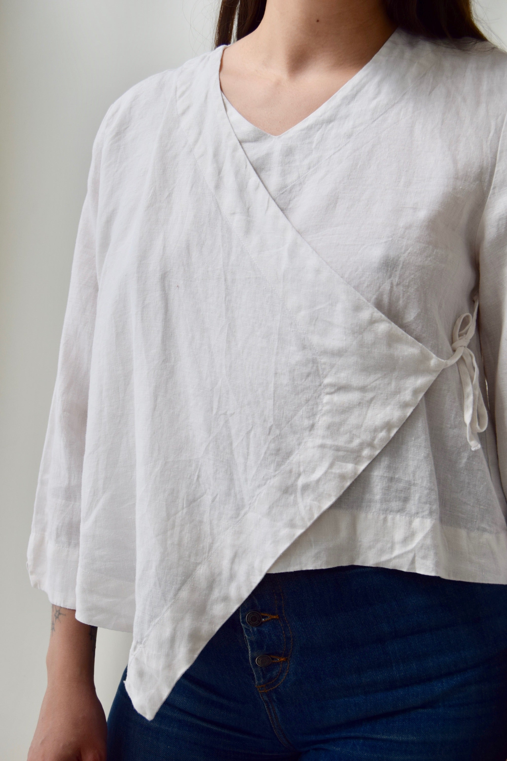 White Linen Wrap Top