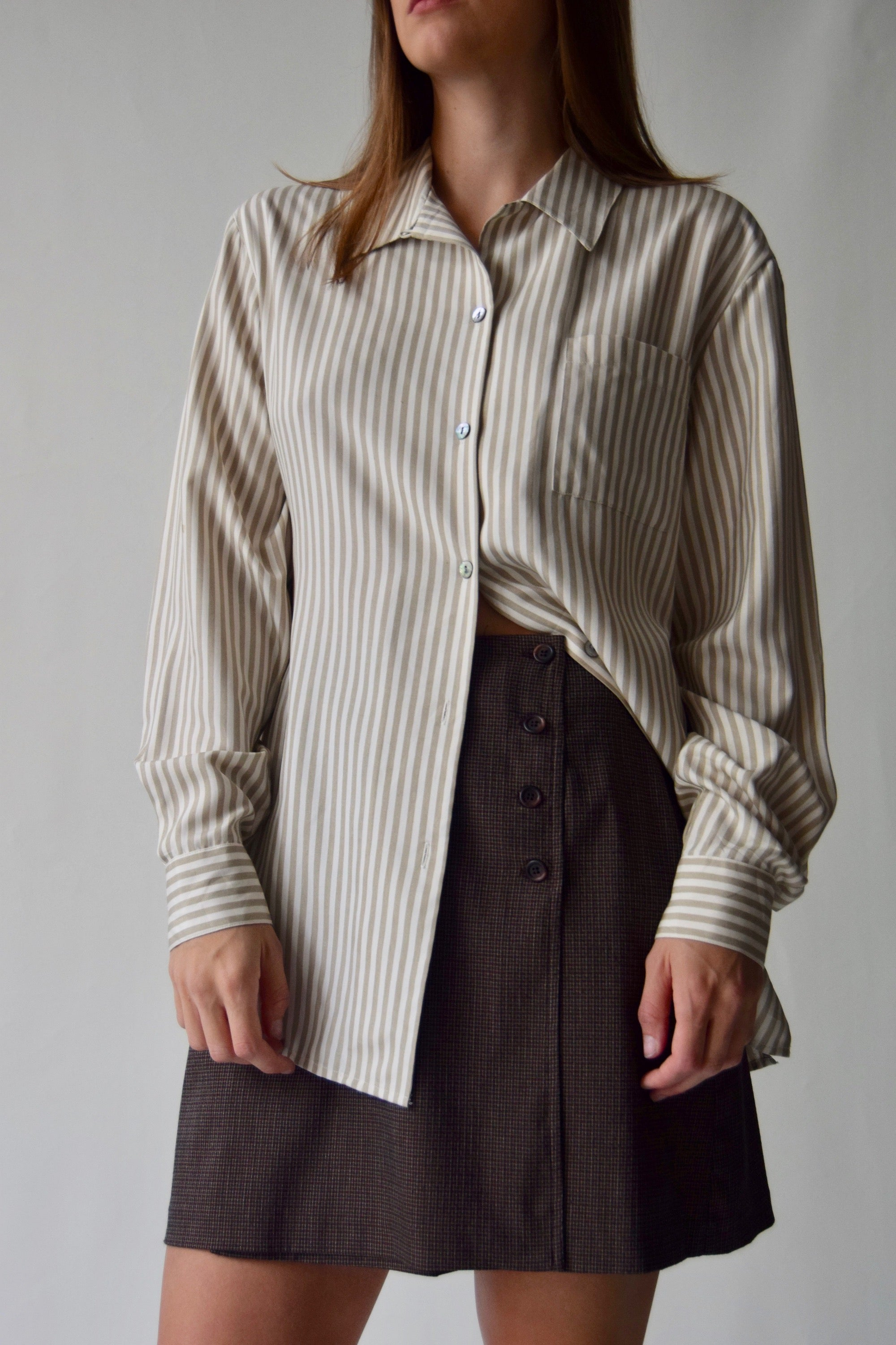 Pure Silk Neutral Striped Long Sleeve Button Up