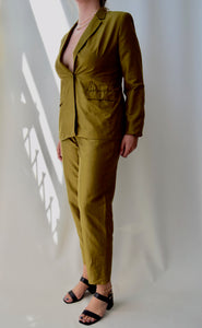 Olive Raw Silk Suit