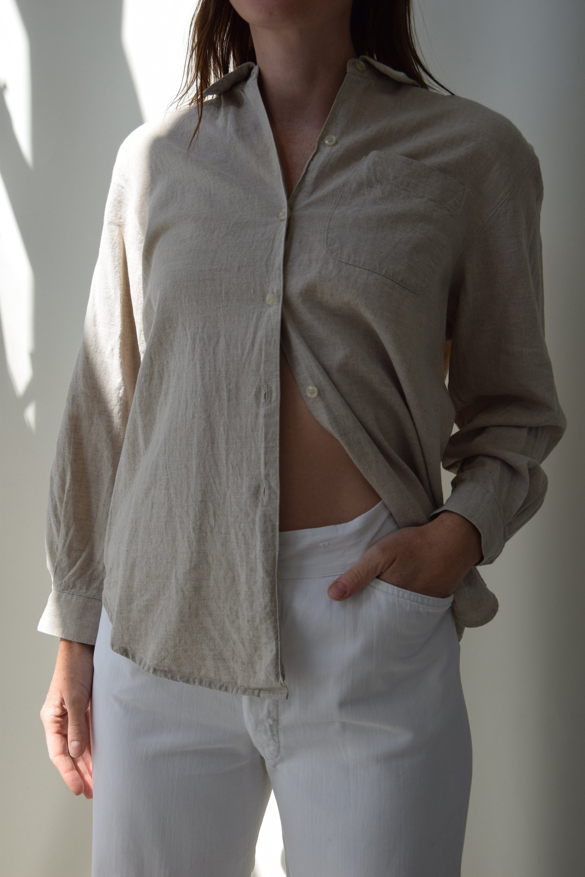 Bran Linen Button Up