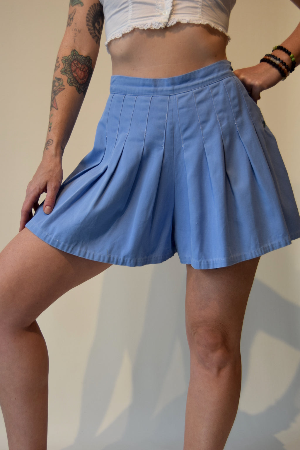 Vintage 1940's/1950's Cotton Blue Pleated Skort