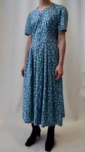 Laura Ashley Turquoise Floral Print Cotton Dress FREE SHIPPING TO THE U.S.