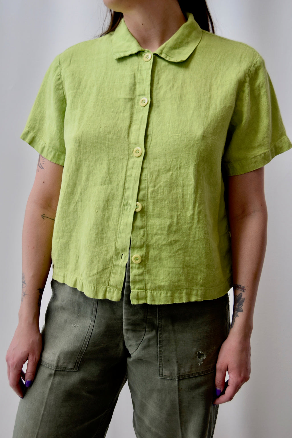 Citrus Linen Short Sleeve Top FREE SHIPPING TO THE U.S.