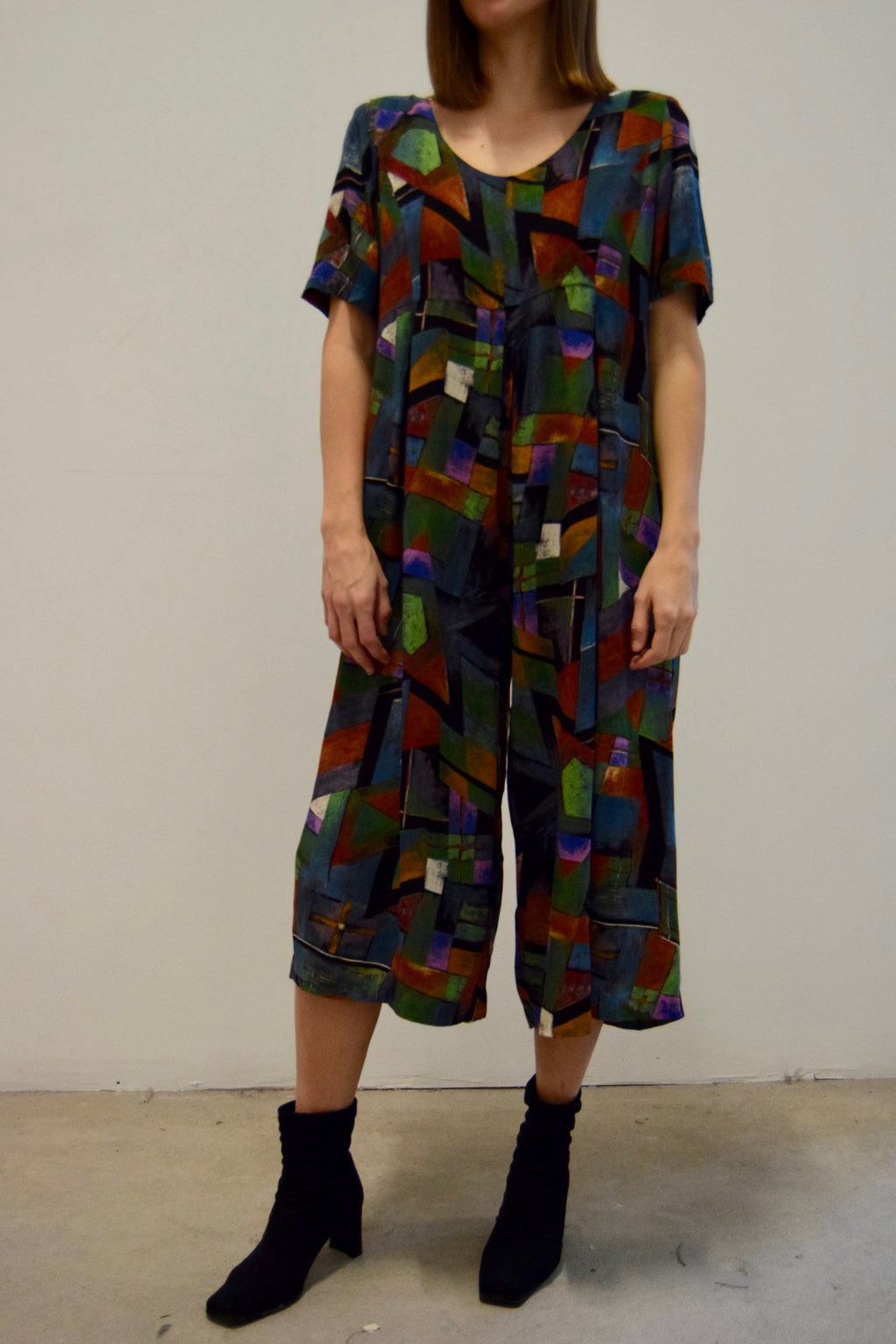 Abstract Printed Cropped Jumpsuit FREE SHIPPING TO THE U.S.