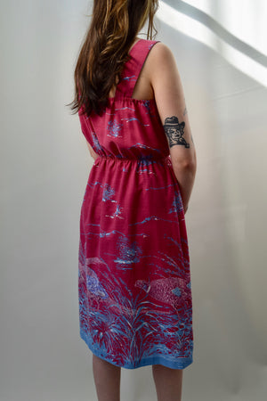 70's Pheasant Summer Dress FREE SHIPPING TO THE U.S.