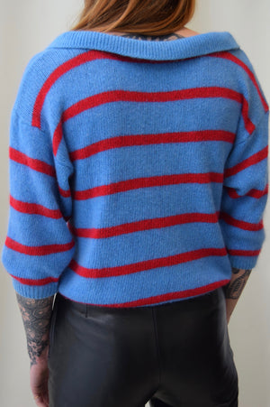 Blue and Red Pointed Collar Knit