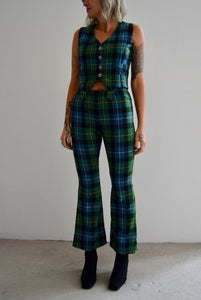 Vintage 70's Cool Tone Plaid Two Piece Suit