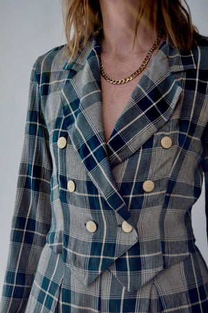 90's Rayon Plaid Blazer & Short Set