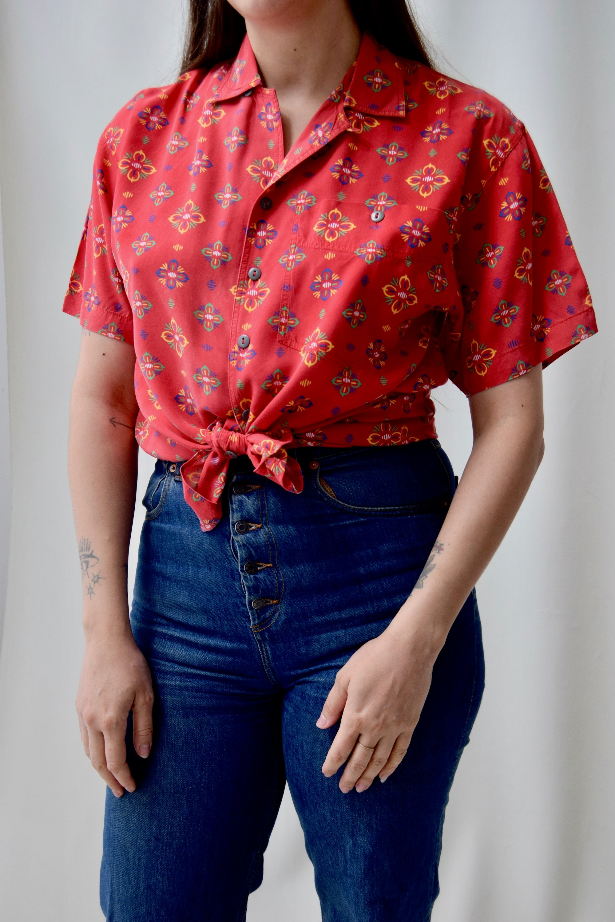 Western Floral Soft Rayon Top