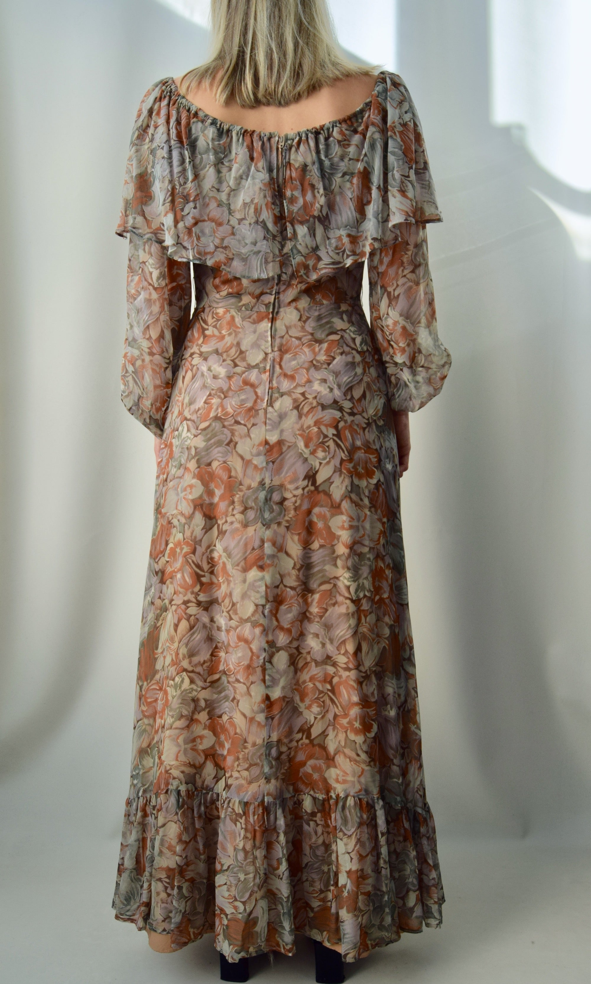 Muted Autumnal 70's Dress
