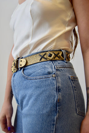 90's Leather Leopard Stone Belt