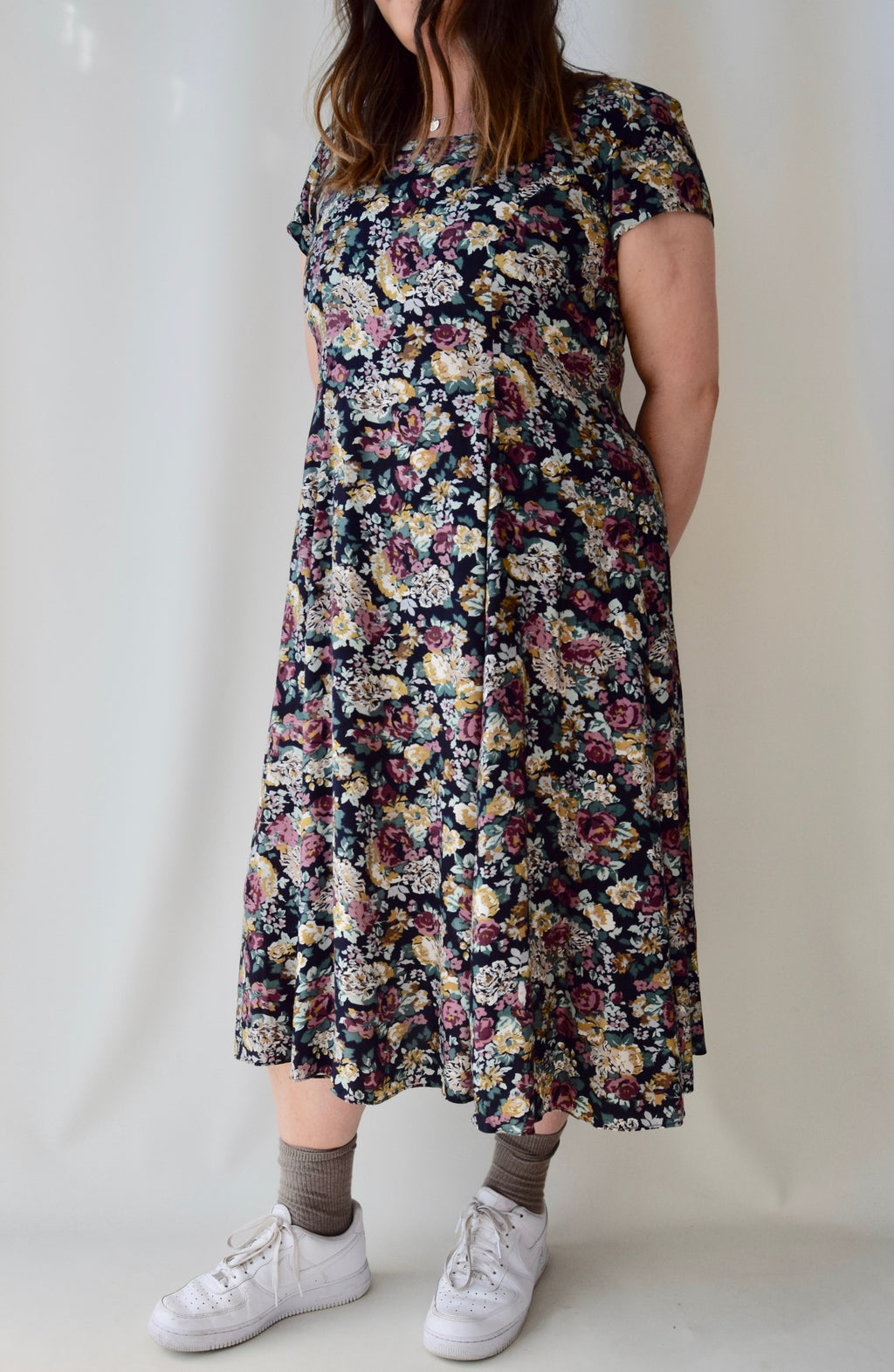 Muted Floral Rayon 90's Dress