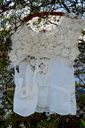 Antique Floral Crocheted Tattered Top