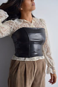 Black Vegan Leather Strapless Corset Top FREE SHIPPING TO THE U.S.